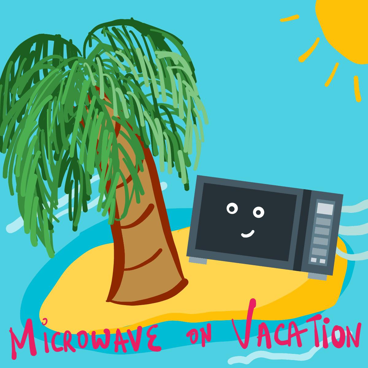 An illustration of a microwave on a beach