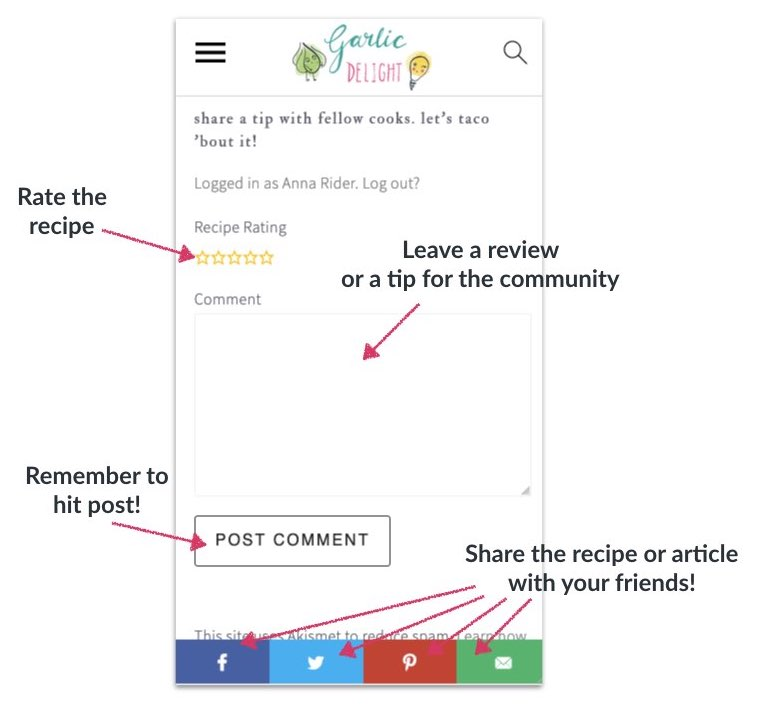 Annotated image of how to leave a review and comment on Garlic Delight
