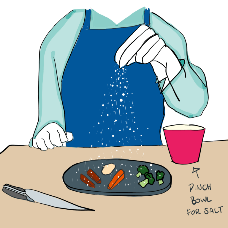 An illustration of someone salting a dish