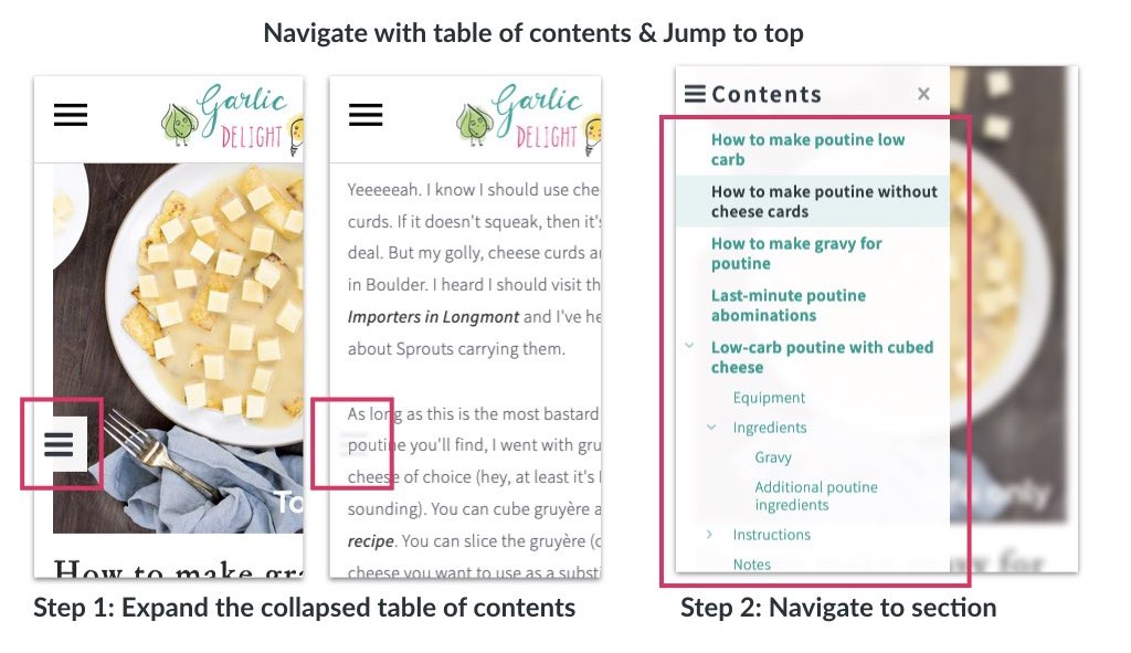 Annotated image of how to navigate an article or a recipe on Garlic Delight
