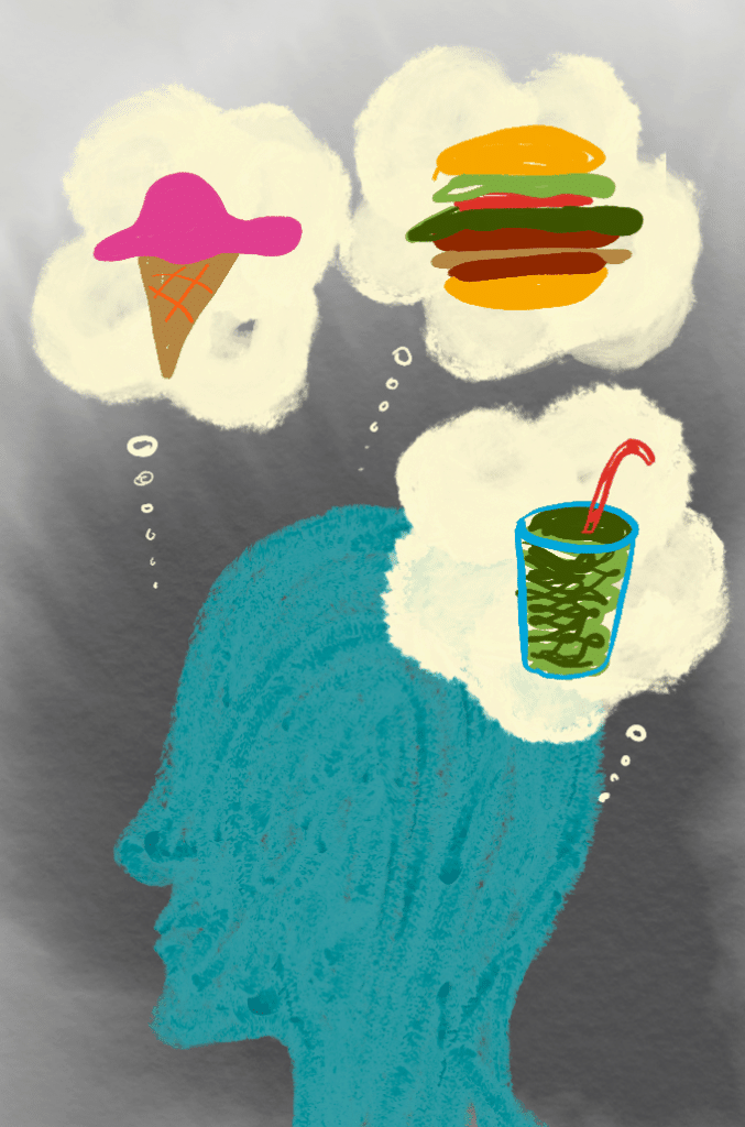 Silhouette thinking about food with ice cream, burger, and shake cloud bubble.
