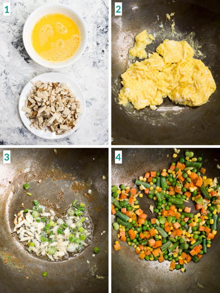 Image collage of 4 steps to making fried rice including frying eggs
