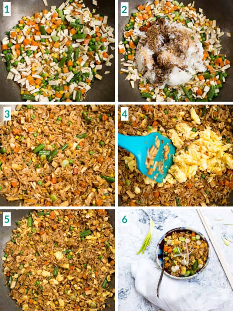 Image collage of 6 steps to making fried rice including adding soy sauce