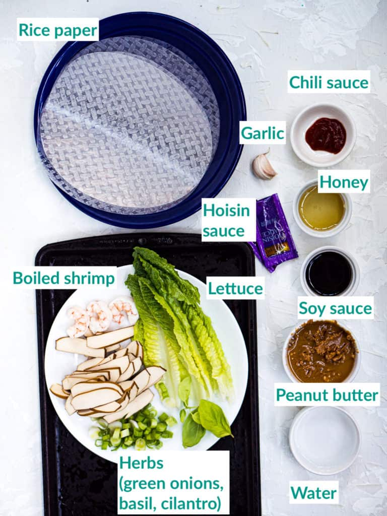 The ingredients for making spring rolls on a white background