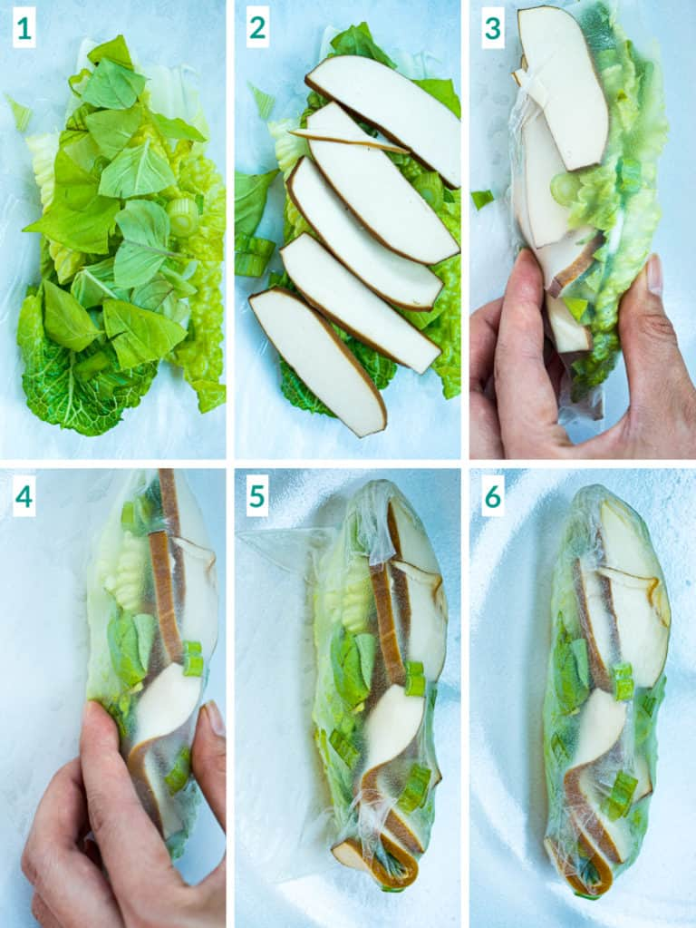 Image collage of 6 steps to folding a tofu spring roll